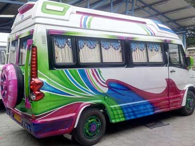 Tempo traveller exterior painting design
